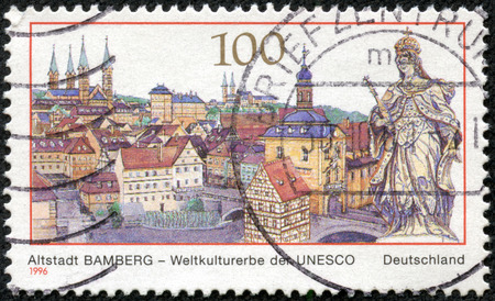 unesco world cultural heritage: GERMANY - CIRCA 1996: a stamp printed in the Germany shows View of Bamberg, Old Town, Town in Bavaria, UNESCO World Cultural Heritage, circa 1996 Editorial