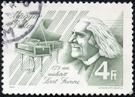 liszt: HUNGARY - CIRCA 1986: stamp printed by Hungary, shows Franz Liszt, Composer, piano, circa 1986 Editorial