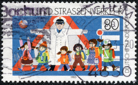 bundespost: GERMANY - CIRCA 1983: a stamp printed in the Germany shows Children and Road Safety, circa 1983