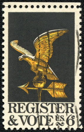 democracies: USA - CIRCA 1968: Postage stamp printed in USA, the Campaign to draw more voters to the polls, shows the weather vane is from an old house in the Russian Hill section of San Francisco, circa 1968