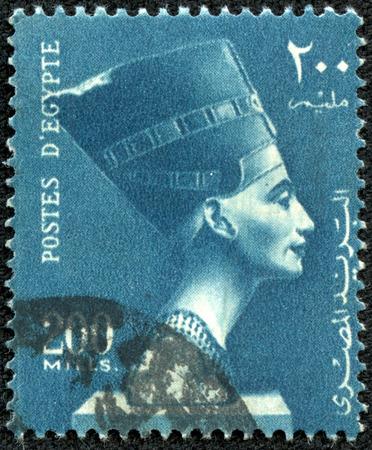 nefertiti: EGYPT - CIRCA 1953: stamp printed by Egypt, shows Queen Nefertiti, circa 1953.