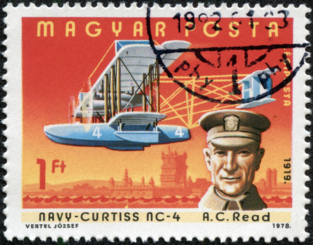 aviators: HUNGARY - CIRCA 1978: A stamp printed in Hungary shows Albert Cushing Read with Navy-Curtiss NC-4, with the same inscription, series \\\Famous Aviators and their Airplanes\\\, circa 1978