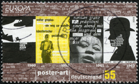 GERMANY - CIRCA 2003: A stamp printed in Germany dedicated to poster art, circa 2003