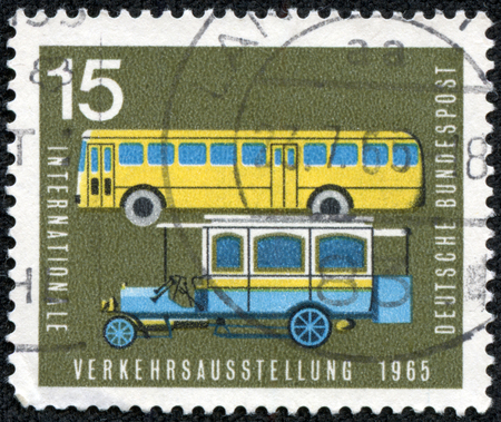 bundespost: GERMANY - CIRCA 1965: Postage stamp printed in Germany, dedicated to the International Transport and Communications Exhibition, Munich, shows the old and new post buses, circa 1965
