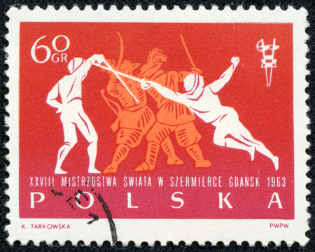 POLAND - CIRCA 1963: post stamp printed in Polska shows fencers and dragoons (musketeers) dueling in tournament, 28th world fencing championships Gdansk, Scott 1148 A402 60g red orange, circa 1963