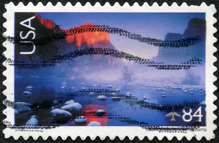 UNITED STATES OF AMERICA - CIRCA 2006: A stamp printed in the United States of America shows image of Yosemite National Park in California, series, circa 2006 photo
