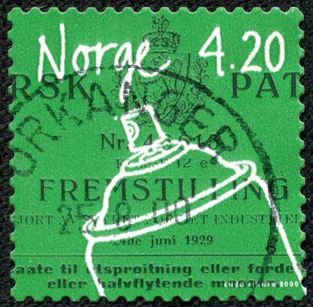 cfc: NORWAY - CIRCA 2000: A 4.20k stamp printed in Norway shows image of an aerosol container, from the inventions series, circa 2000