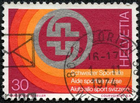 commemorate: SWITZERLAND - CIRCA 1974: A stamp printed in Switzerland, shows Sports Foundation Emblem, circa 1974