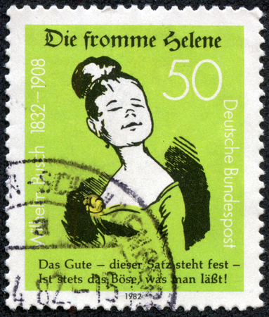 GERMANY - CIRCA 1982: A stamp printed in Germany issued for the 150th Birth anniversary of writer and illustrator Wilhelm Busch shows Good Helene, circa 1982.