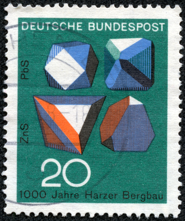 sphalerite: GERMANY - CIRCA 1968: A stamp printed in Federal Republic of Germany honoring 1000 years of Harzer Bergbau mines, shows Ore Crystals, Millenary of ore mining in Harz Mountains, circa 1968