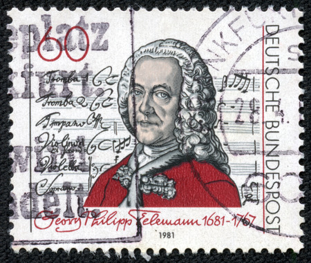 GERMANY - CIRCA 1981: A stamp printed in Germany shows Georg Philipp Telemann (1681-1767), Title Page of \\\Singet dem Herrn\\\ Cantata, circa 1981
