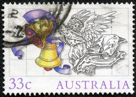 philatelic: AUSTRALIA - CIRCA 1985: Postage stamp printed in Australia, Christmas Issue, shows Illustrations by Scott Hartshorne, Angel with bells, circa 1985 Stock Photo