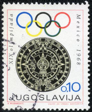 yugoslavia: YUGOSLAVIA- CIRCA 1968: A stamp printed in Yugoslavia shows Olympic games in Mexico,circa 1968