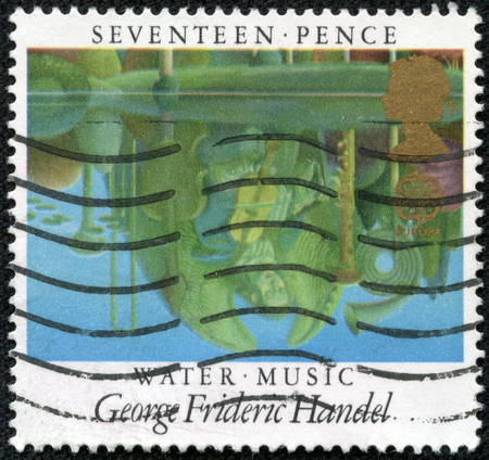 UNITED KINGDOM - CIRCA 1985: A stamp printed in United Kingdom from the Europa. European Music Year. British Composers issue shows Water Music (George Frideric Handel), circa 1985.
