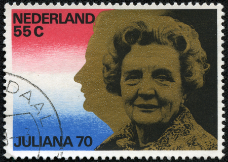 juliana: NETHERLANDS - CIRCA 1979: A stamp printed in Netherlands shows portrait of Queen Juliana (1909-2004), circa 1979