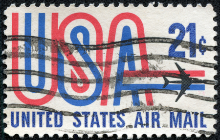 united states postal service: UNITED STATES - CIRCA 1984: A stamp printed in USA, image depicting aircraft, United States Air Mail, face value 20c, circa 1984
