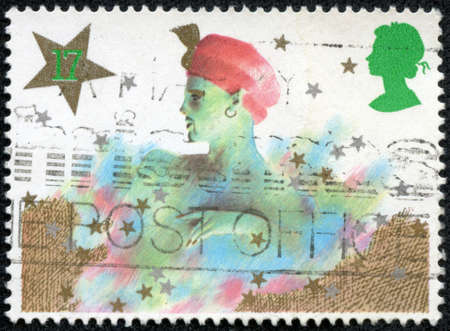 GREAT BRITAIN - CIRCA 1985: a stamp printed in the Great Britain shows Genie, Christmas pantomime, circa 1985 Stock Photo