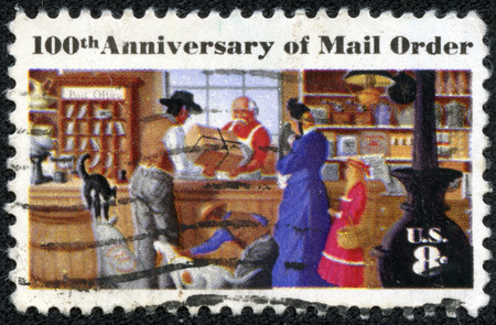 montgomery: USA - CIRCA 1972: a stamp printed in the USA, centenary of mail order business, originated by Aaron Montgomery Ward, Chicago, shows a Rural Post Office Store, circa 1972 Editorial