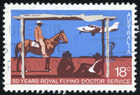 airstrip: AUSTRALIA - CIRCA 1978: A stamp printed in Australia issued for the 50th anniversary of Royal Flying Doctor Service shows Piper PA-31 Navajo landing at Station Airstrip, circa 1978.