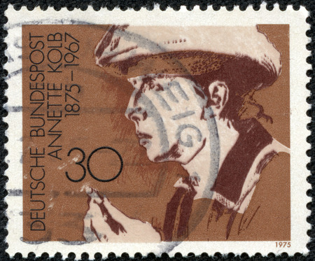 west of germany: FEDERAL REPUBLIC OF GERMANY - CIRCA 1975: A postage stamp printed in the West Germany shows Annette Kolb (German author and pacifist), circa 1975 Editorial