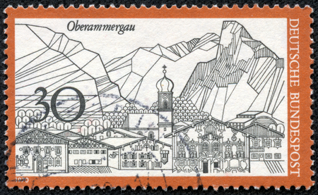 "bundespost: GERMANY - CIRCA 1970: A stamp printed in Germany from the  ""Tourism "" issue shows Oberammergau, circa 1970."