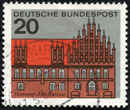 bundespost: GERMANY -CIRCA 1964: Stamp printed in Germany shows graphic of the Old Court House in Hanover, circa 1964. Hanover on the river Leine, is the capital of the federal state of Lower Saxony, circa 1964