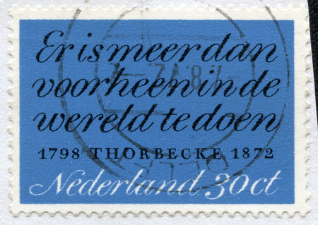 statesman: NETHERLANDS - CIRCA 1972: A stamp printed in Netherlands honoring Death Centenary of JRThorbecke (statesman), shows text: There is more to be done in world than ever before (Thorbecke), circa 1972 Stock Photo