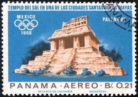 indian postal stamp: PANAMA - CIRCA 1967: a stamp printed in the Panama shows Indian Ruins at Palenque, Maya Culture, 1968 Summer Olympics, Mexico City, circa 1967 Editorial