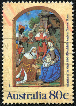 adoration: . AUSTRALIA - CIRCA 1989: a stamp printed in the Australia shows Adoration of the Magi, from Parisian Book of Hours, c 1490 1500, Christmas, circa 1989