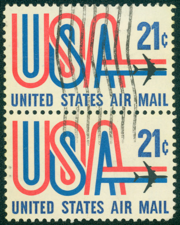 united states postal service: UNITED STATES - CIRCA 1984: stamp printed in USA, image depicting aircraft, United States Air Mail, face value 20c, circa 1984