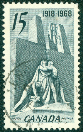 defenders: CANADA - CIRCA 1968: a stamp printed in the Canada shows Canadian National Memorial near Vimy, France, The Defenders and the Breaking of the Sword, circa 1968 Editorial