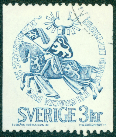 duke: SWEDEN - CIRCA 1976: Postage stamp printed in Sweden, shows the Seal of Duke Erik Magnusson, circa 1970 Stock Photo