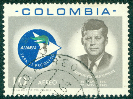 COLOMBIA - CIRCA 1963: A stamp printed in Colombia showing John F. Kennedy, circa 1963 Editorial
