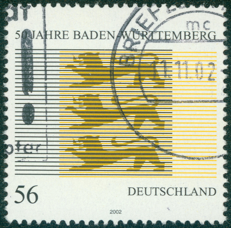 baden wurttemberg: GERMANY- CIRCA 2002: stamp printed by Germany, shows emblem Baden Wurttemberg, circa 2002.