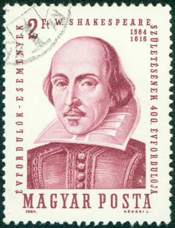 HUNGARY - CIRCA 1964: A stamp printed in Hungary shows image of William Shakespeare (1564-1616), the playwright, circa 1964