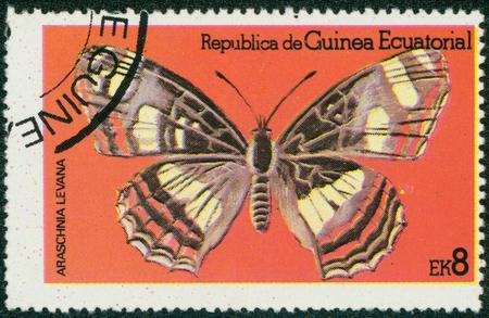 forewing: EQUATORIAL GUINEA - CIRCA 1972: stamp printed by Equatorial Guinea, shows Butterfly, circa 1972 Stock Photo