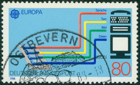 isdn: GERMANY - CIRCA 1988: A stamp printed in German Federal Republic dedicated to Transport and communication, shows the Integrated Services Digital Network (ISDN) system, circa 1988