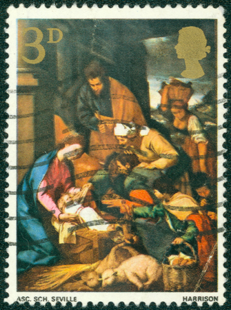 "ascribed: UNITED KINGDOM - CIRCA 1967: A stamp printed in Great Britain, shows \ ""Adoration of the Shepherds \"", without inscription, from the series Christmas, circa 1967 Editorial"