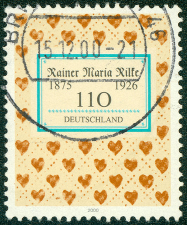 GERMANY - CIRCA 2000: Postage stamp printed in Germany, dedicated to the 125th anniversary of the birth of the poet Rainer Maria Rilke, circa 2000 photo
