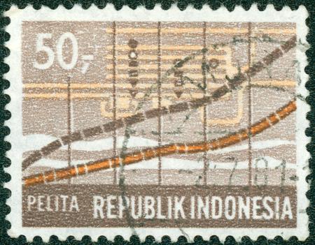 pelita: INDONESIA - CIRCA 1969: A stamp printed in Indonesia honoring Five-year Development Plan, shows Graph, Statistics, circa 1969