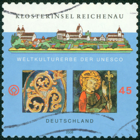 GERMANY - CIRCA 2008: a stamp printed in the Germany shows Monastic Island of Reichenau, is an Island in Lake Constance in Southern Germany, circa 2008
