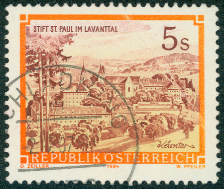 abbeys: AUSTRIA - CIRCA 1984 A stamp printed in Austria shows St. Pauls Abbey in the Lavanttal, Karintien, from the series Monasteries and Abbeys in Austria, circa 1984