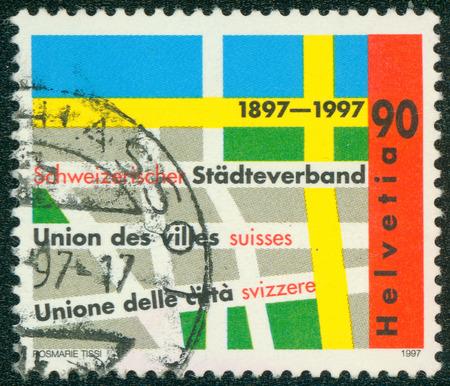 municipalities: SWITZERLAND - CIRCA 1997: stamp printed by Switzerland, shows Swiss municipalities union, circa 1997