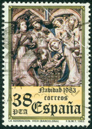 adoration: SPAIN - CIRCA 1983: stamp printed by Spain, shows The Adoration, circa 1983