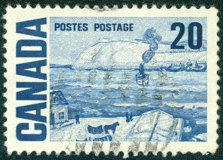 postes: CANADA - CIRCA 1967: A stamp printed in Canada from the \ Centennial \ issue shows \ Quebec Ferry \ painting by James Wilson Morrice, circa 1967.