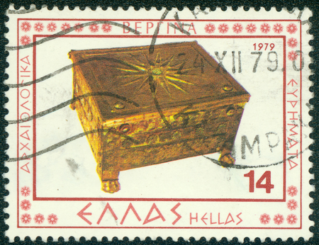 GREECE - CIRCA 1979: A stamp printed in Greece from the \ Vergina archaeological findings \ issue shows Golden casket, circa 1979.