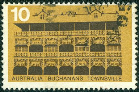 australia stamp: AUSTRALIA - CIRCA 1973: A Stamp sheet printed in AUSTRALIA shows the Buchanan  's Hotel, Townsville, series, circa 1973