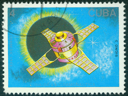 marte: CUBA CIRCA 1988: stamp printed by CUBA, shows Cosmonautics Day, CIRCA 1988