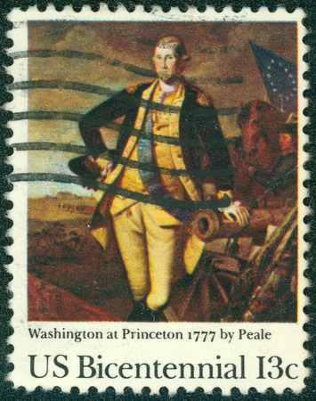 """USA - CIRCA 1977: A stamp printed in United States of America shows \ """"Washington at Princeton, 1777 \"""" painting by Peale, circa 1977"""
