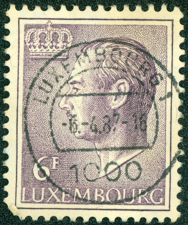 LUXEMBOURG - CIRCA 1965: A stamp printed in Luxembourg, shows portrait of Grand Duke of Luxembourg Jean, without inscription, from the series Grand Duke Jean, circa 1965